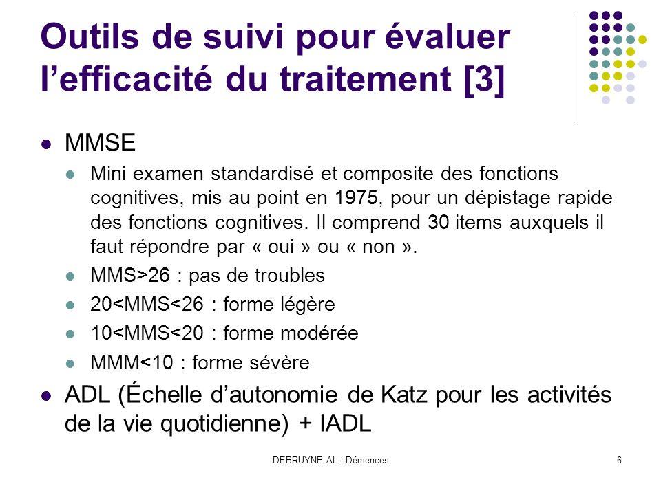 Outils de suivi pour évaluer l'efficacité du traitement [3]